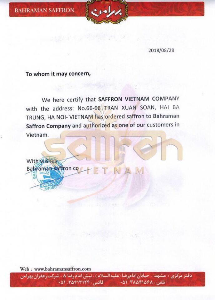 Chứng nhận đối tác của Bahraman Saffron