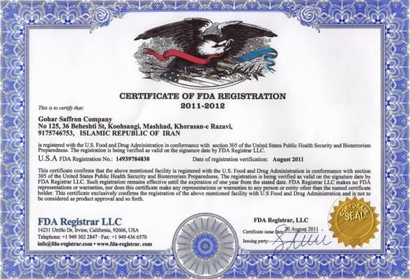 Chứng nhận Hoa Kỳ FDA cho sản phẩm nhụy hoa nghệ tây