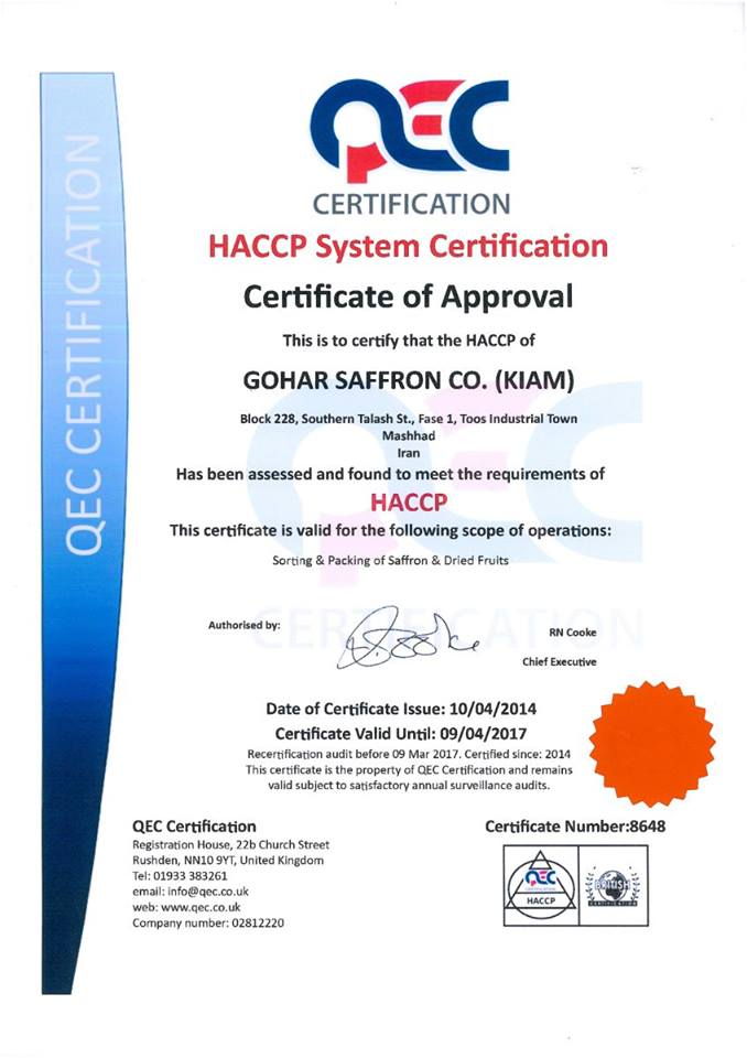 Chứng nhận HACCP đảm bảo tính an toàn thực phẩm cho Saffron