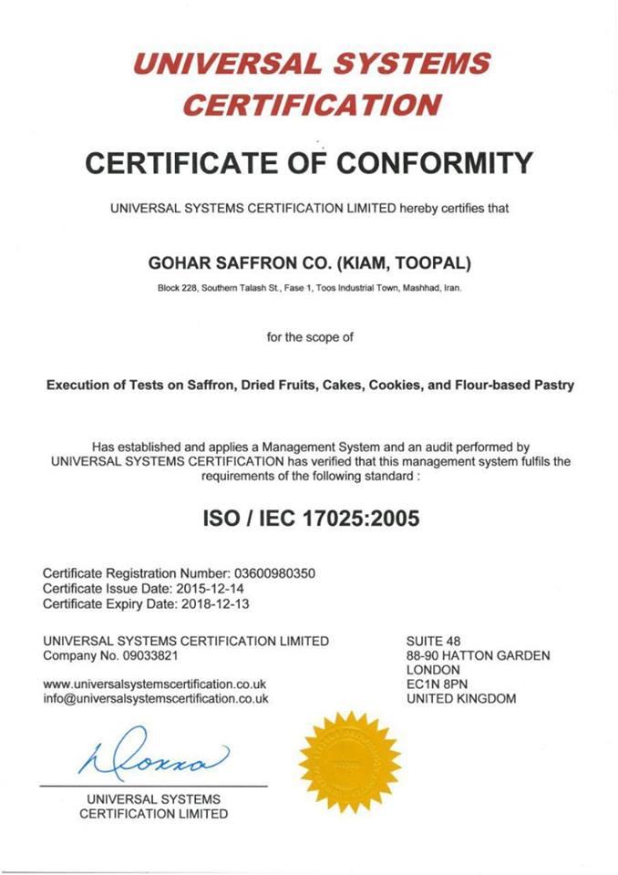 Chứng nhận SO/IEC cho sản phẩm nhụy hoa nghệ tây