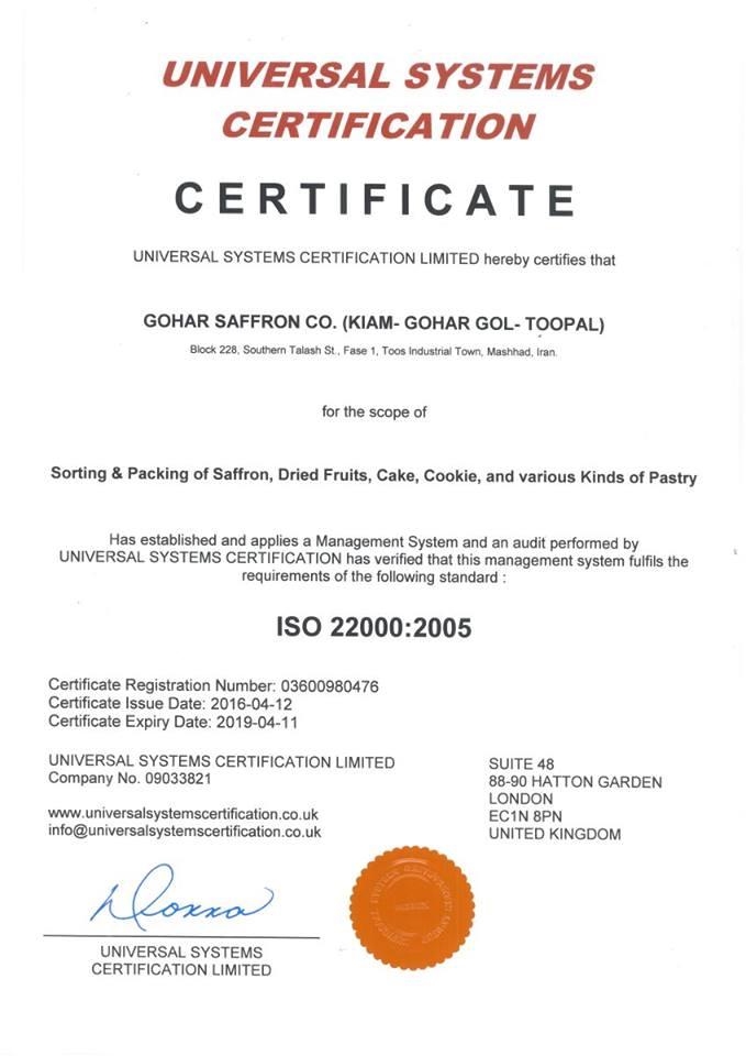Chứng nhận ISO 22000 cho sản phẩm Saffron