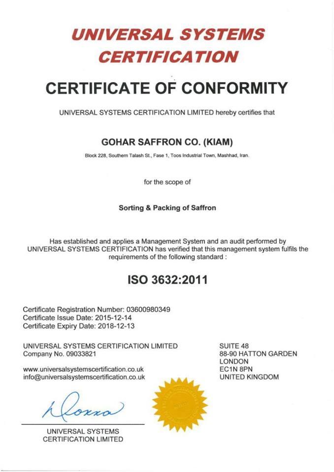 Chứng chỉ hợp quy về Phân loại và Đóng gói Saffron đạt tiêu chuẩn IOS 3632:2011