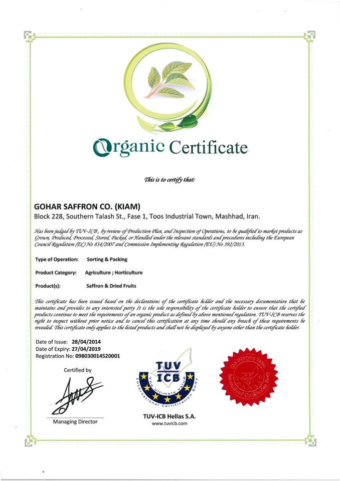 Chứng nhận sản phẩm saffron organic