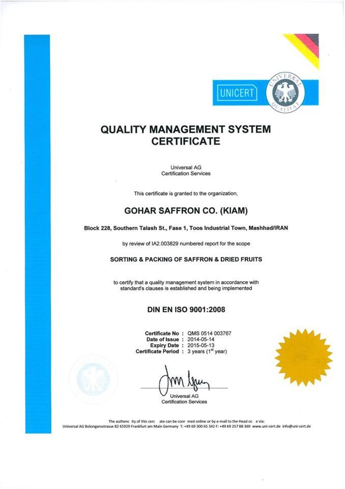 Chứng chỉ hợp cách về chất lượng quản lý đối với Phân loại, Đóng gói Saffron đạt tiêu chuẩn IOS 9001:2008