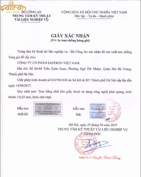 Giấy xác nhận in tem chống hàng giả từ Bộ Công an