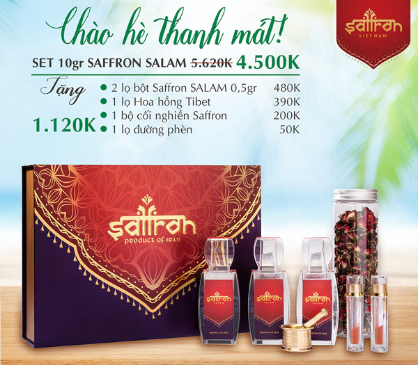Mua set 10Gr Saffron SALAM TẶNG THÊM 1 lọ hoa hồng Tibet