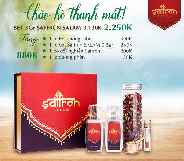Mua set 5Gr Saffron SALAM TẶNG THÊM 1 lọ hoa hồng Tibet