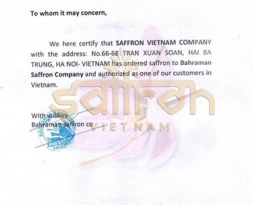 Giấy chứng nhận hợp tác giữa Saffron VIETNAM và Bahraman Saffron Company