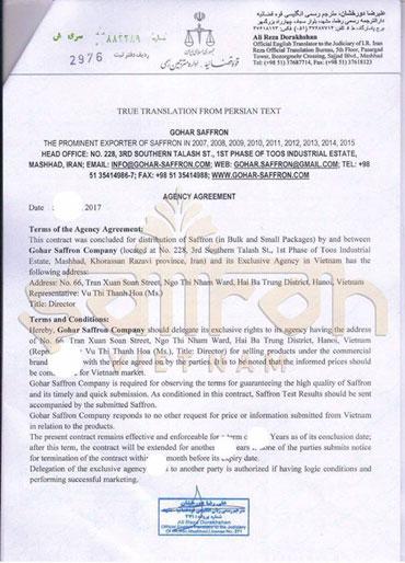 Hợp đồng độc quyền được ký giữa Gohar Saffron và Saffron VIETNAM
