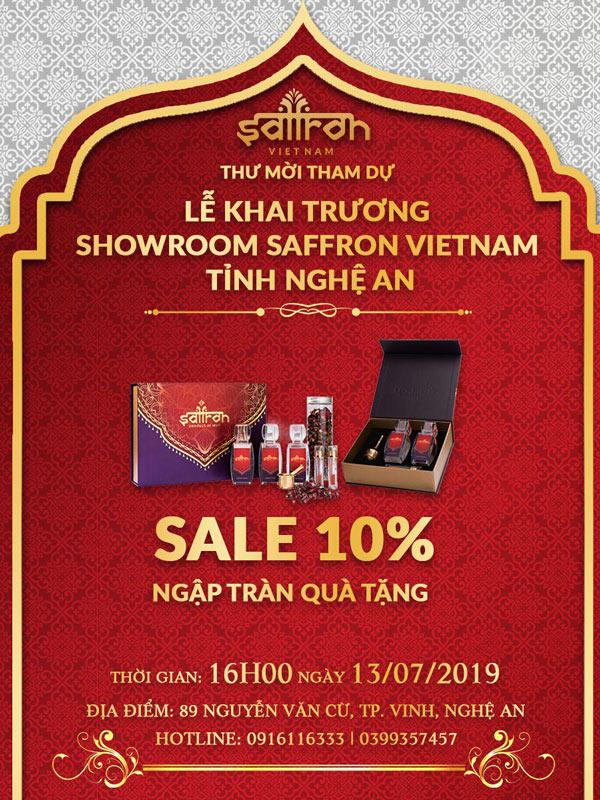 Thư mời lễ khai trương showroom Saffron VIETNAM tại Nghệ An