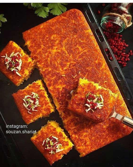 Cơm Tah Dig truyền thống của người Iran